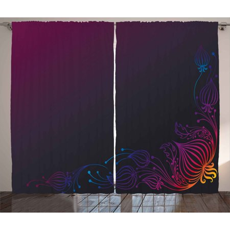 Indigo Curtains 2 Panels Set Rainbow Colored Image With Dark Black Purple Ombre Backdrop Flower