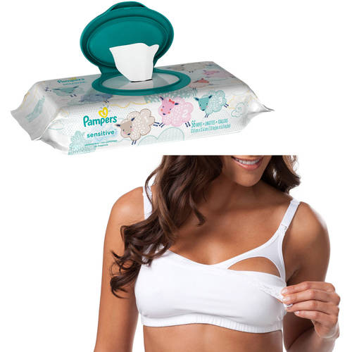 Loving Moments by Leading Lady Maternity Comfort Wirefree Nursing Cami Bra plus BONUS Pampers Wipes