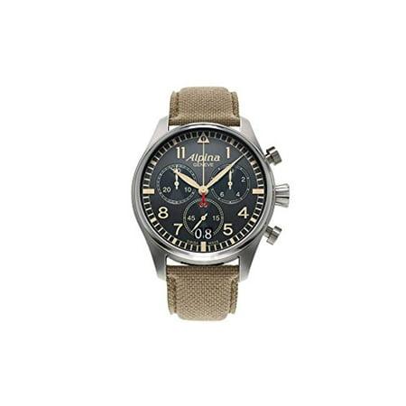 Alpina Startimer Pilot Chronograph Big Date Quartz Watch, AL-372, Grey, 44 (Best Pilot Watches Of All Time)