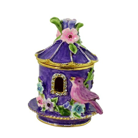Purple Birdhouse with Flowers Trinket Box (Purple Trinket Box)