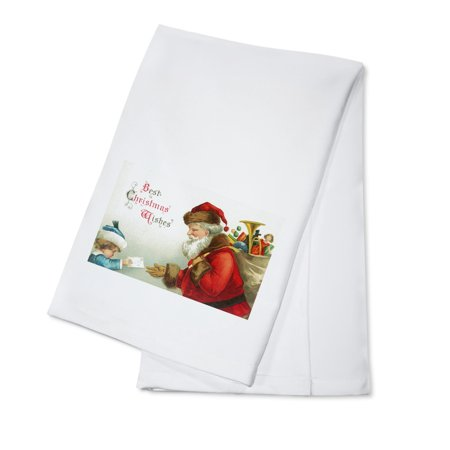 Best Christmas Wishes Little Boy Giving Santa a Letter (100% Cotton Kitchen