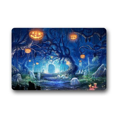 WinHome Halloween in the Cemetery Doormat Floor Mats Rugs Outdoors/Indoor Doormat Size 30x18 inches - Level 5 100 Floors Halloween