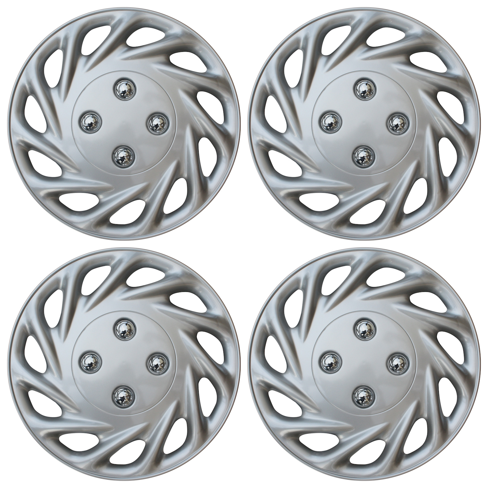 """BRAND NEW 4 PC Set ABS Silver Fits 13"""" Inch Wheel Cover Hub Caps Cap"""