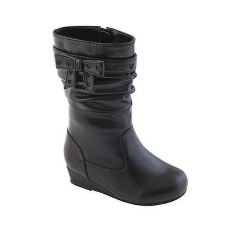 Canyon River Blues Toddler Girls Black Leather Look Fashion Boots with - Girls Leather Boots