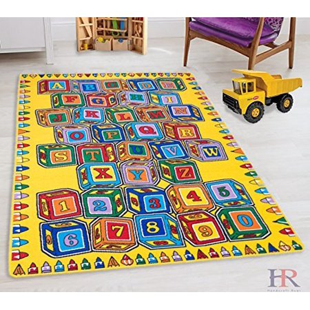 Teaching ABC Blocks Party accent Kids Educational play mat For School/Classroom / Kids Room/Daycare/ Nursery Non-Slip Gel Back Rug Carpet-(5 by 7 feet)