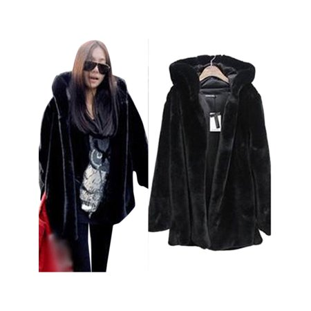 Plus Size Womens Faux Fur Parka Jacket Winter Warm Hooded Hoodie Coat