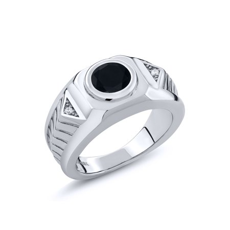1.68 Ct Round Black Onyx 925 Sterling Silver Men's Ring