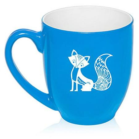 16 oz Large Bistro Mug Ceramic Coffee Tea Glass Cup Fancy Fox (Light - Blue Glass Cups