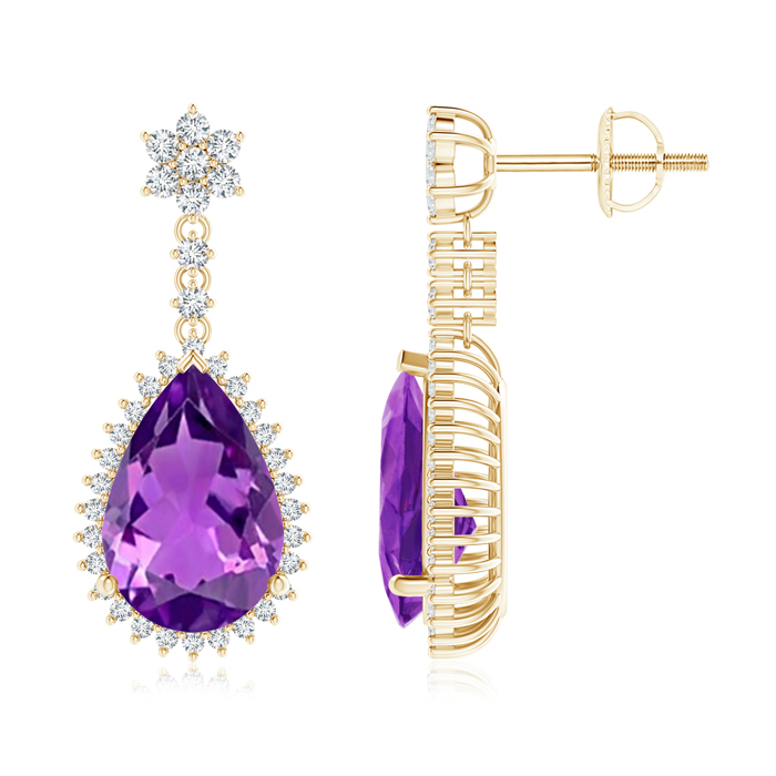 Angara Pear Amethyst Halo Dangle Earrings with Diamond Cluster zkN6z