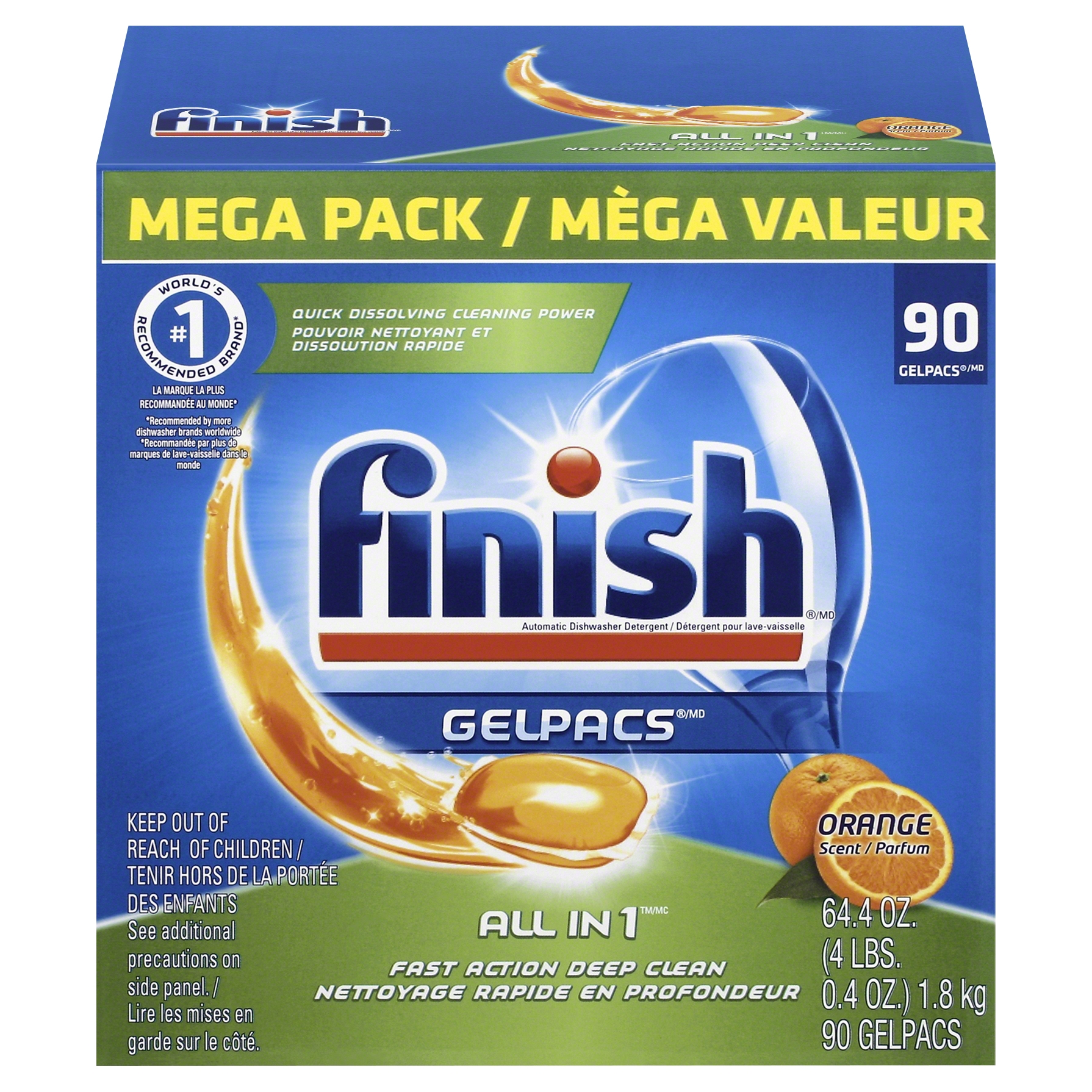 Finish Gelpacs Dishwasher Detergent, Orange Scent, 90 Count