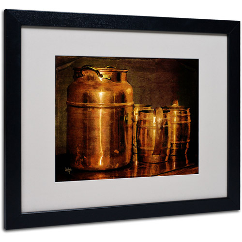 "Trademark Fine Art ""Copper Jugs"" by Lois Bryan, Black Frame"