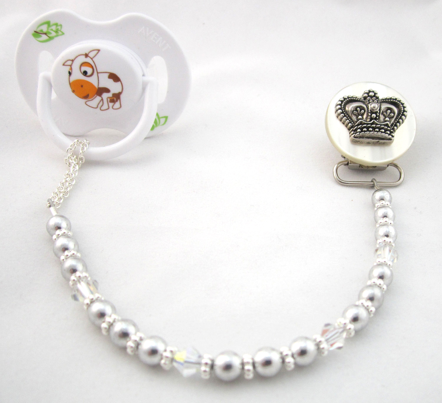Crown Pacifier Clip with Matching Pearls