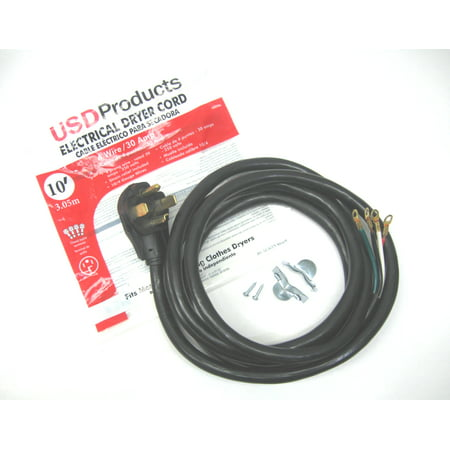 Clothes Dryer Power Cord 4 Prong Wire 30 Amp 10' Foot 10/4 Gauge Wire Heavy (Replace 4 Prong Dryer Cord With 3 Prong)