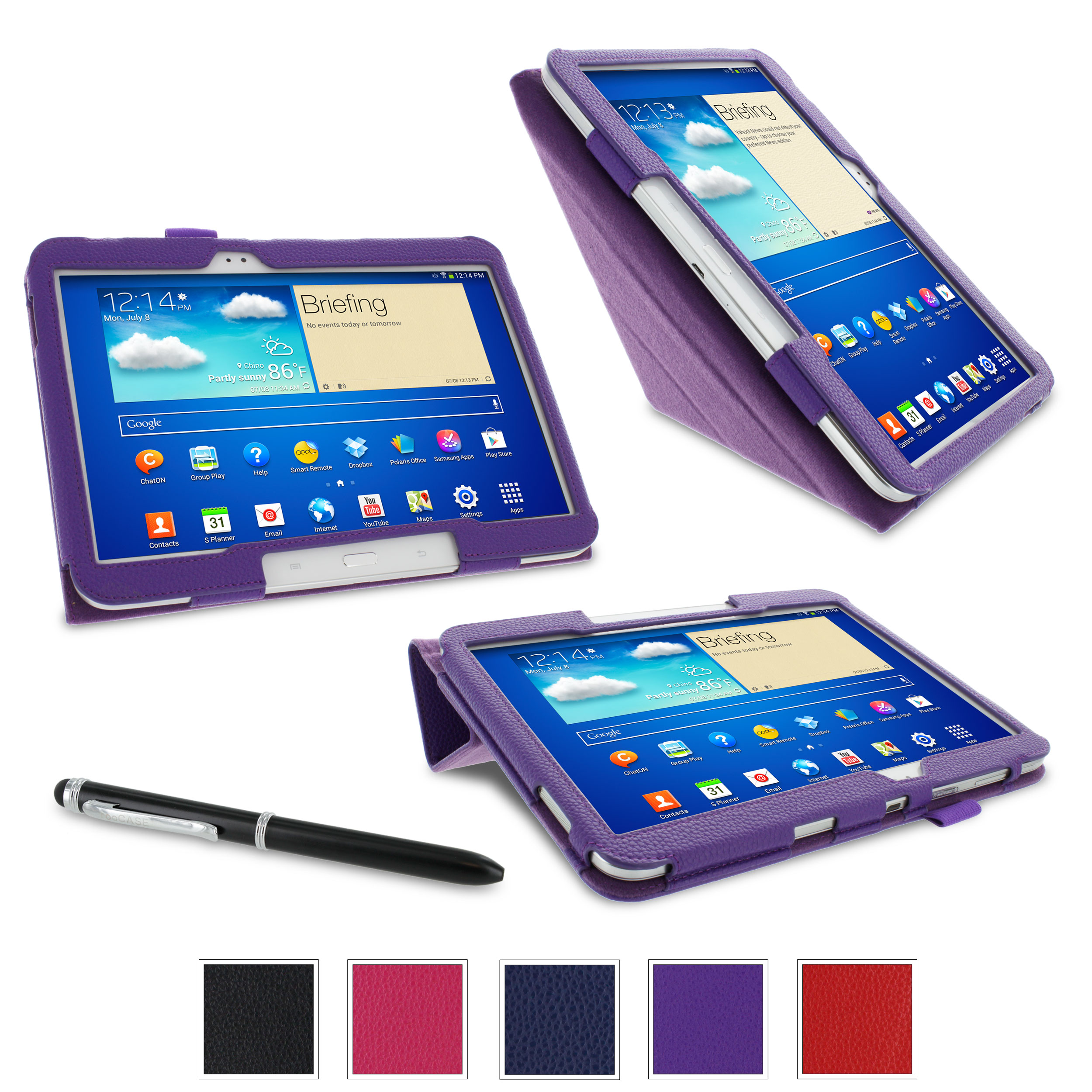 "rooCASE Samsung Galaxy Tab 3 10.1 / Galaxy Tab 4 10.1 Case - Origami PU Leather 10.1-Inch 10.1"" Cover with Landscape, Portrait, Typing Stand, Stylus - PURPLE (With Auto Wake / Sleep Cover)"