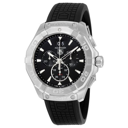 Tag Heuer  Men's CAY1110.FT6041 '300 Aquaracer' Black Dial Black Rubber Strap Chronograph Swiss Quartz Watch Swiss Quartz Chronograph Movement