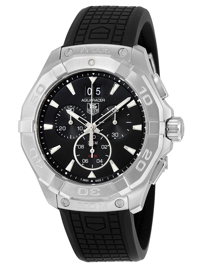 Tag Heuer  Men's CAY1110.FT6041 '300 Aquaracer' Black Dial Black Rubber Strap Chronograph Swiss Quartz Watch
