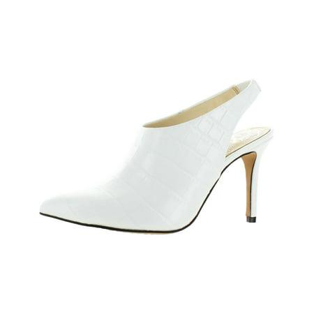 Vince Camuto Womens Amnedra Leather Embossed Slingback Heels Leather Pull On Heels