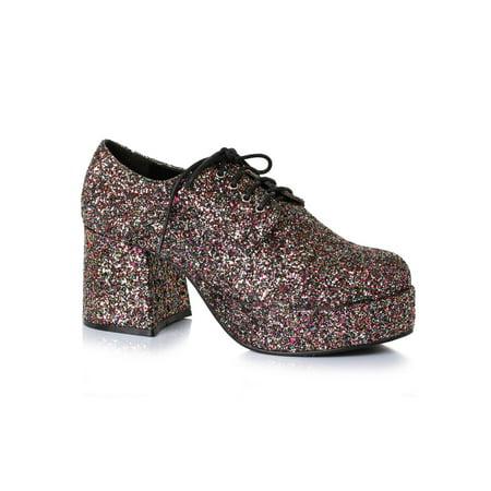 Men's 3 inch Heeled Platform Black Glitter Disco Shoe Halloween Costume - Halloween Inchies