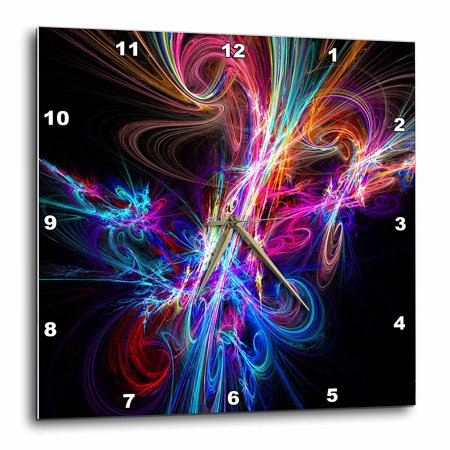3dRose Multicolor Neon Light up the Night Fractal Art, Wall Clock, 15 by 15-inch