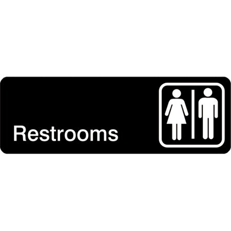 Winco - SGN-313 - 3 in x 9 in Restroom Sign
