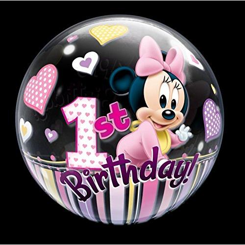 22 Minnie Mouse 1st Birthday Bubble Balloons Multi-Colored