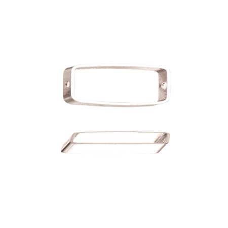 10pcs Bead Frame, Slope Rectangle Silver-Plated Brass 22x8.6mm, Fits Up To 7x16mm Square Beads