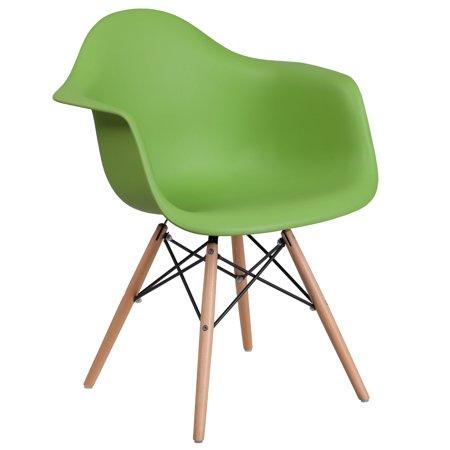 Flash Furniture Alonza Series Green Plastic Chair with Wood - Brazilian Wood Furniture