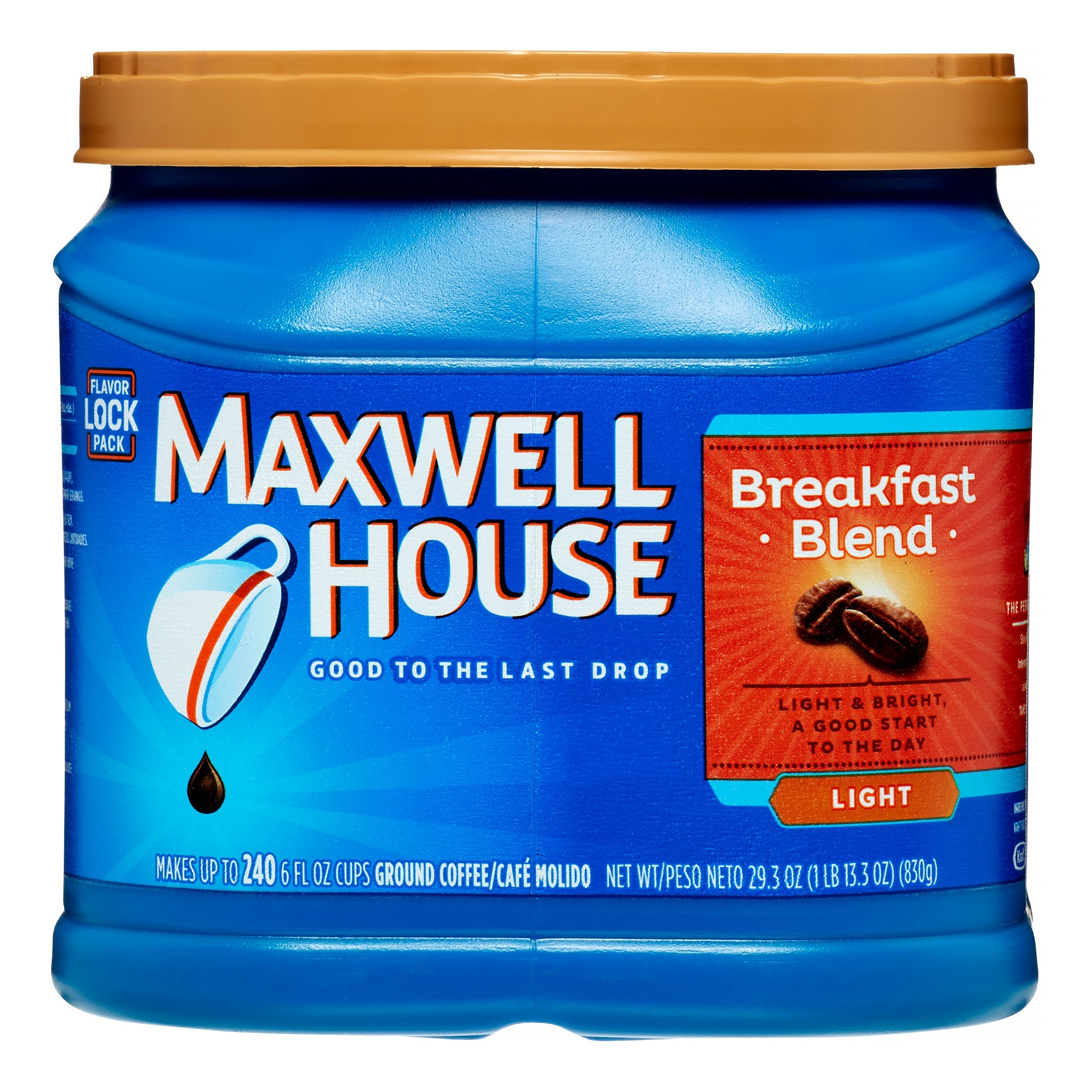 Maxwell House Light Roast Ground Coffee, Breakfast Blend, 29.3 Oz, 1 Ct