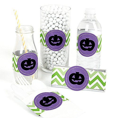 Eat, Drink and Be Scary - Chevron Green and Purple - Halloween Party DIY  Wrapper Favors - Set of 15
