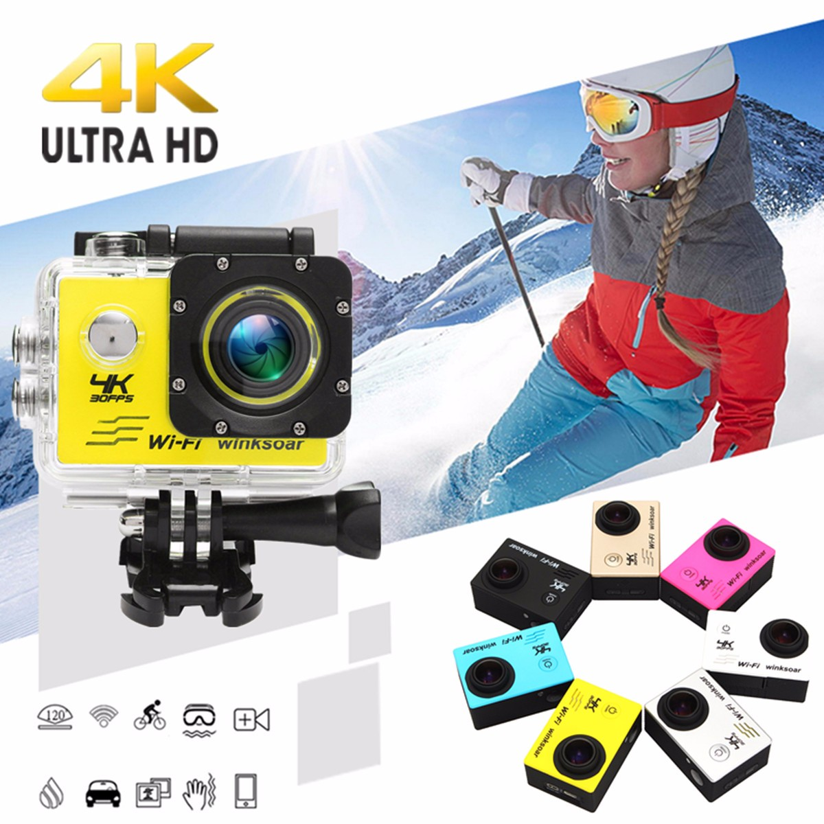 Winksoar SJ9000 Wifi 1080P 4K Ultra HD Sport Action Camera 7 Colors DVR Cam Camcorder Waterproof Christmas Birthday Gift