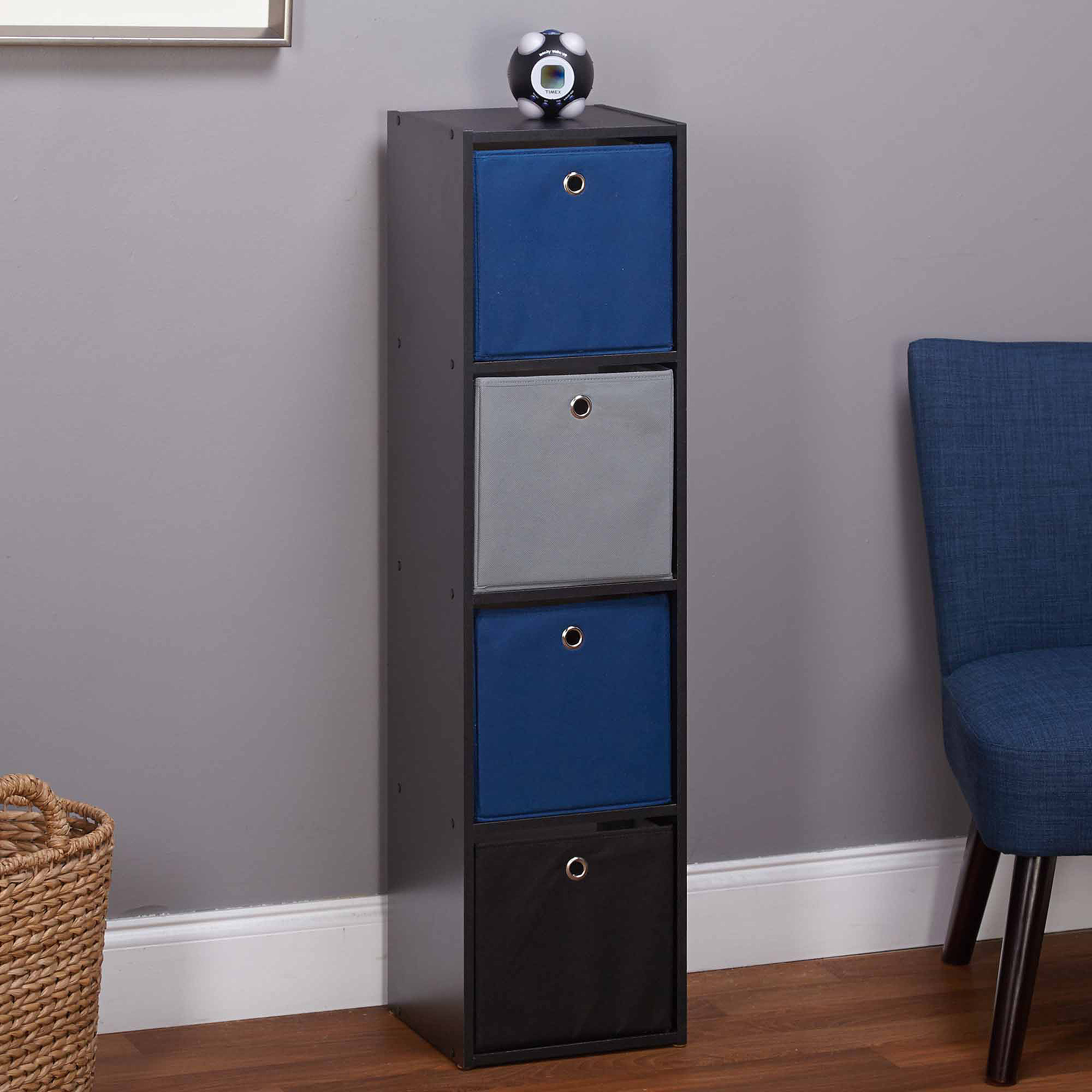 Utility Bookcase with 4 Fabric Bins