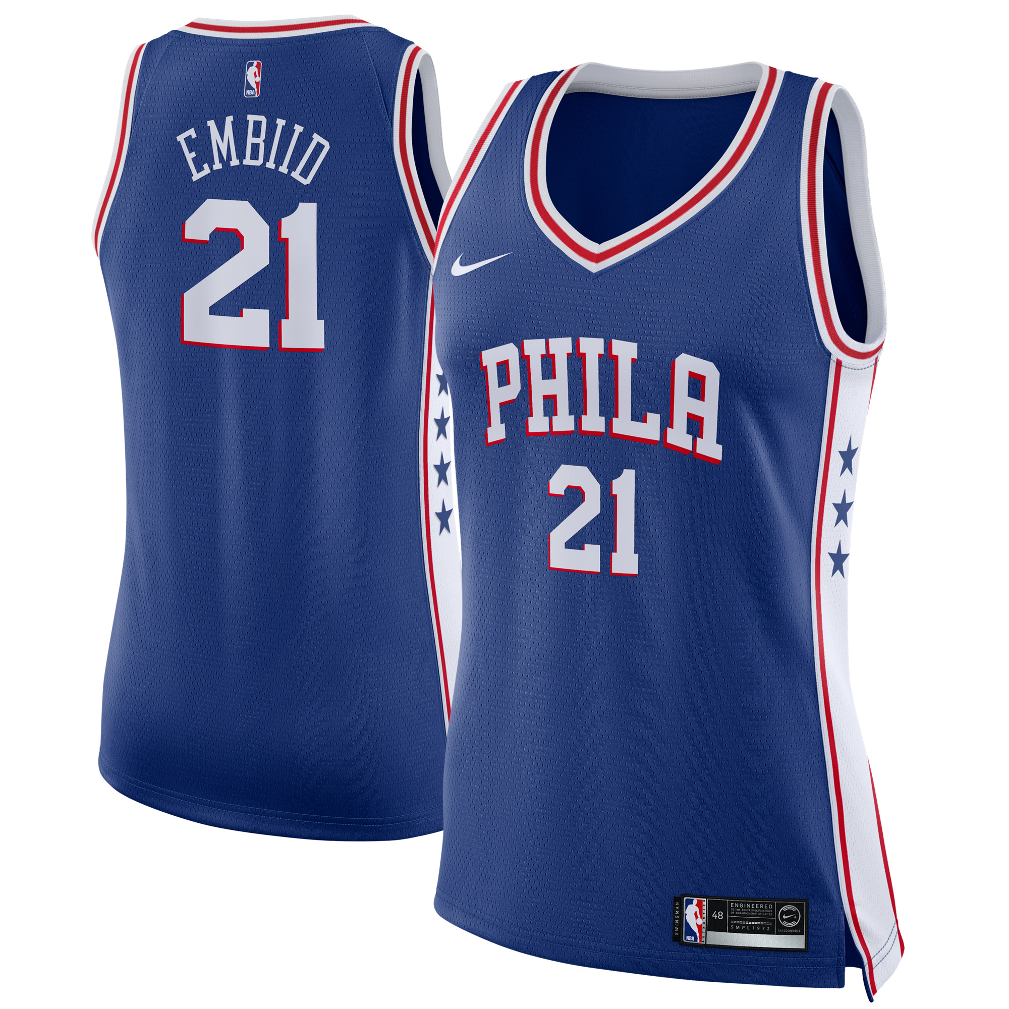 Joel Embiid Philadelphia 76ers Nike Women's Swingman Jersey Royal - Icon Edition
