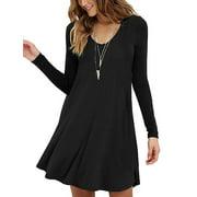 Women's Long Sleeve Casual Swing Simple T-Shirt Loose Dress