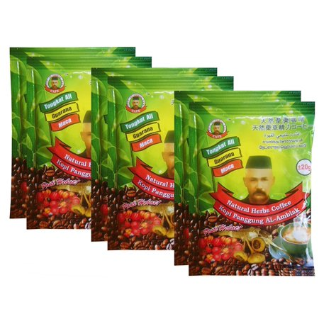 Cafe Natural Herbs Coffee (Tongkat Ali, Guarana, Maca) The Best Coffee for Men, 20 g x 6 (Ali G Best Of)