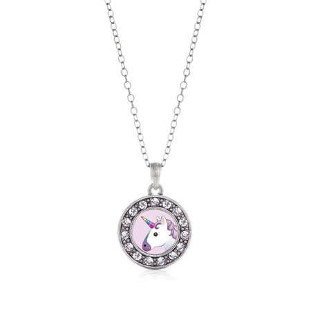 Unicorn Emoji Circle Charm Necklace - Unicorn Necklace