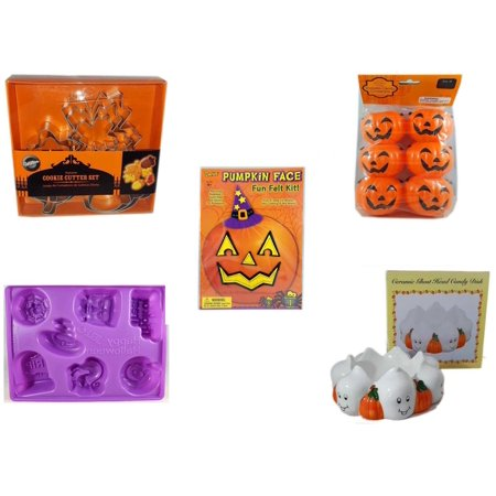 Halloween Fun Gift Bundle [5 Piece] - Wilton Autumn 8-Piece Cookie Cutter Set - Party Favors Pumpkin Candy Containers 6 Count - Darice Pumpkin Face Fun Felt Kit - Witch - Happy  Jell-O Mold -  Ceram - Halloween Candy Part 2