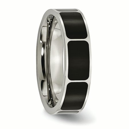Titanium Black Enamel Flat 6mm Wedding Ring Band Size 10.00 Fancy Fashion Jewelry Gifts For Women For Her - image 1 de 10