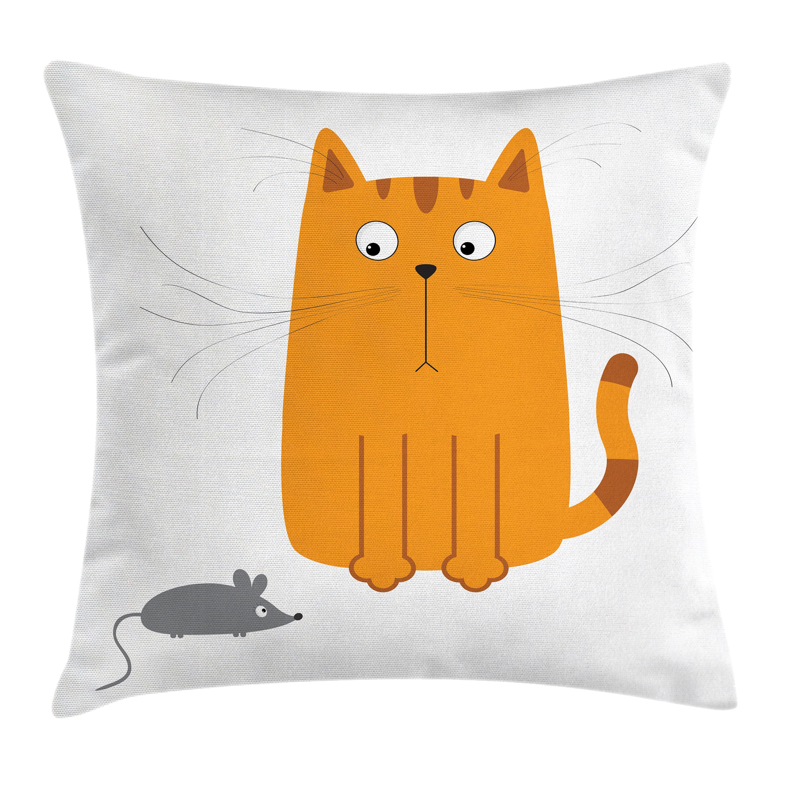 Cartoon Throw Pillow Cushion Cover, Cute Cat Looking at Mouse Hunter Kitty Fun Humor Kids Animal Graphic Art Print, Decorative Square Accent Pillow Case, 16 X 16 Inches, Marigold Grey, by Ambesonne