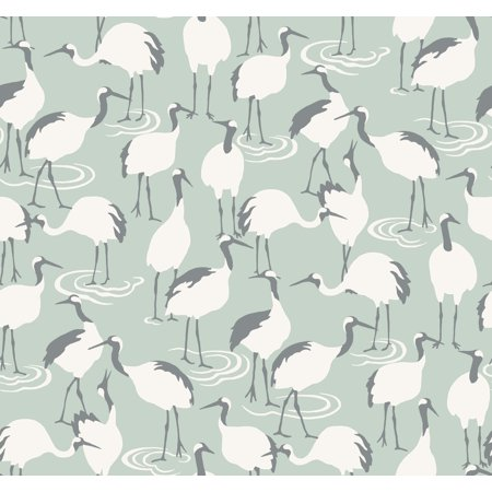 Dwell Studio Sham - York Wallcoverings DR6356 Dwell Studio Winter Cranes Wallpaper - Greens