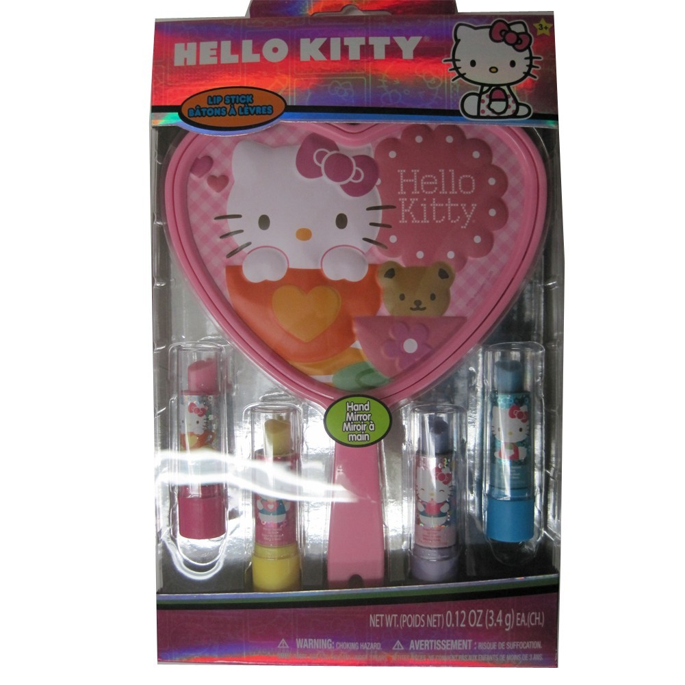 Hello Kitty Girls Character Design Lip Balm Hand Mirror Cosmetic Set