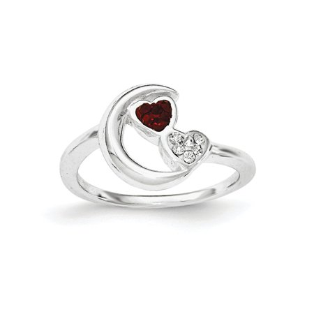 Sterling Silver Red and White Crystal Half Moon and Heart Ring, Size 7