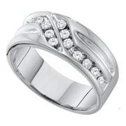 10K White Gold 0.50ctw Sweeping Channel Diamond Mens Diagonal Wedding Band Ring