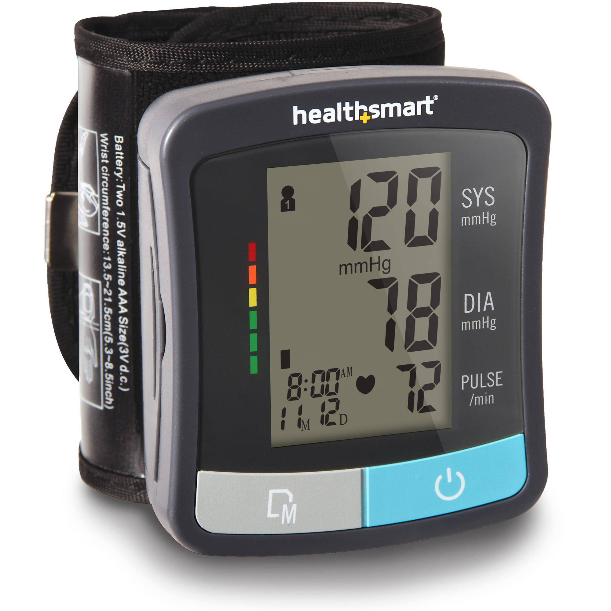 HealthSmart Standard Series Clinically Accurate Universal Automatic Wrist Digital Blood Pressure Monitor with LCD Display and 2 Person Memory, Black and Gray