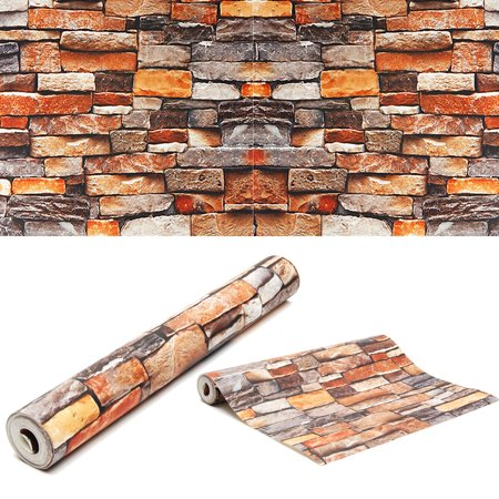 1.7*31.1Ft 3D Textured Stone Brick Wall Sticker Waterproof Sound-Absorbing Wallpaper Bedroom Living Room TV Wall Background Decal - image 5 of 6