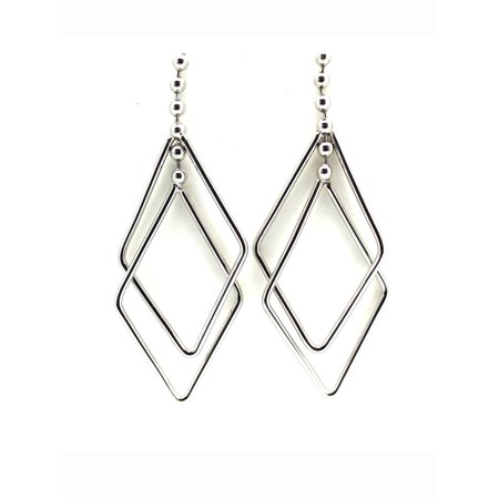 triangle dangle charm silvertone fashion earrings. Black Bedroom Furniture Sets. Home Design Ideas