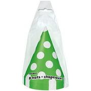 Polka Dot Birthday Party Hats, Lime Green, 8ct