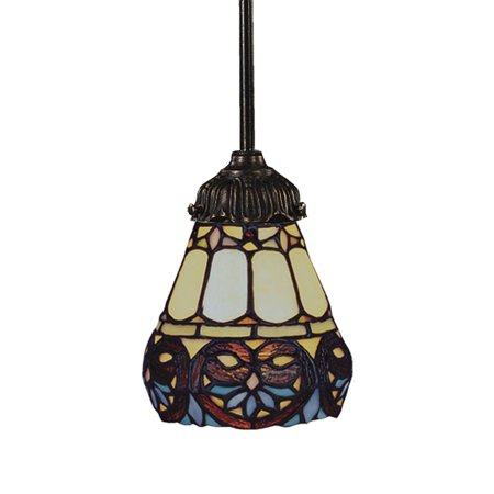 Mix-N-Match 1-Light Mini Pendant in Tiffany Bronze with Tiffany Style Glass ()