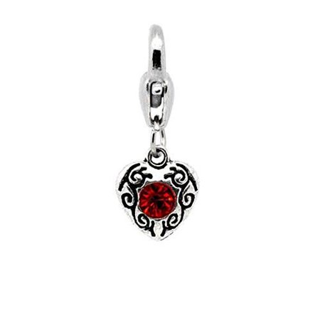 July Red Birthstone Antique Silver Rhinestone Heart Clip On Charms  Fits Thomas Sabo 26X10mm