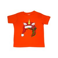 Christmas Cute Unicorn Face with Santa Hat Toddler T-Shirt