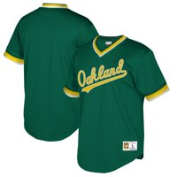 Oakland Athletics Mitchell & Ness Cooperstown Collection Mesh Wordmark V-Neck Jersey - Green